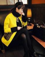 2014 Newest Berber Fleece Pocket  Woolen Outerwear Medium-long woolen overcoat for Winter & Autumn