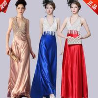 Autumn Chiffon deep V-neck Fake Crystal Backless Banquet Dance Formal Party Gowns long fashion slim bridal evening dress LF387