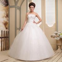bridal gown  2014 royal lace tube top bride white vintage wedding dress wedding dress vestido de noiva