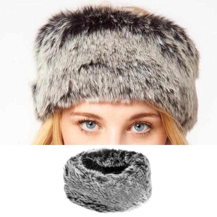Drop Shipping 2014 Fashion Fake Fur Euramerican Headband Turtleneck Ring Fake Fur Plush Head Hair Bands HT-013707(China (Mainland))