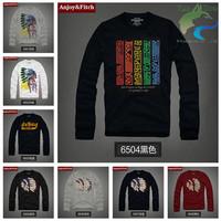 Free shipping Trendy t shirt Fashion Men's T-shirts 100% cotton High quality  long-sleeved Printing Embroidery S--XXXL
