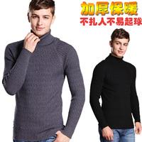 Male turtleneck sweater thickening slim pullover black turtleneck sweater men's clothing winter sweater