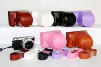 Hot sale PU Leather Camera Case Bag Protective Cover for Panasonic Lumix DMC-GM1 GM1 digital cameras with camera strap