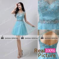 AJ032 formal evening dresses party dress short dress short party evening elegant vestido de festa de casamento de dia 2014 Blue