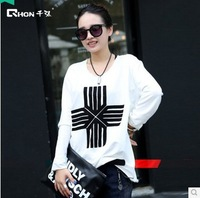 The new large size women's 100% cotton long-sleeved round neck T-shirt printing