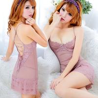 Women's summer sexy sleepwear transparent lace spaghetti strap nightgown hot steel push up twinset temptation