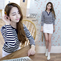 Large size women's V-neck long-sleeved shirt striped T shirt Slim thin outer wear small shirt