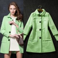 2014 Women's brief fashion long-sleeve slim medium-long Cashmere Overcoat