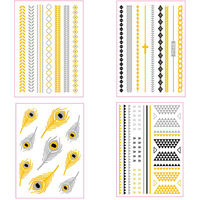Temporary Gold & Silver Jewelry Inspired Tattoos Flash Fancy Body Bling 4pcs/Lot