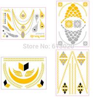 4pcs/1set Jewelry Golden Tattoo Flash Necklace Tattoo Sets