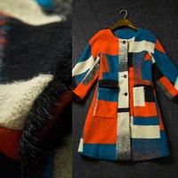 Fashion women's 2014 mink patchwork fashion plaid Jacquard cashmere Overcoat