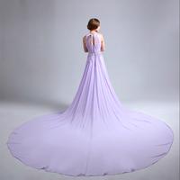 Elegant Women Purple long design formal Banquet Birthday Dance Party Chiffon Gowns slim Beading trailing evening dress LF388
