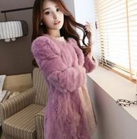 Free shipping 2014 new  autumn /winter women's plus size three-quater-sleeve really rabbit fur medium-long slim  coat (S-2XL)