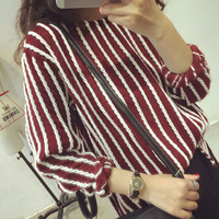 2014 autumn casual woman sweatshirt loose twisted vertical stripe long-sleeve o-neck female thin sweater Free shipping