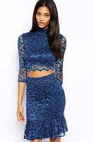 Beauty online new 2014 women evening dress Autumn dress Sexy Half Sleeve Navy Lace Soft Lining Dresses Set LC21685