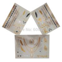 DHL & EMS Freeshipping 100pcs/Lot Pro Golden and Silver Fashion Metallic Custom Temporary Tattoos Sticker supply TSG01