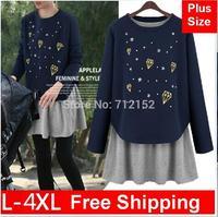 Fashion plus size TWO PIECE SET 2014 autumn European loose o-neck long-sleeve T-shirt vest two-piece dress S ~ 4XL Free Shipping
