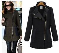 2014 Autumn Winter Fashion Women Size Plus S- 5XL Woolen Side Zipper Woolen Warm Coat Nibbuns Slim Fit Female Tweed  Jacket