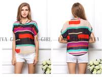 FREE SHIPPING United States women's section 2014 burst loose big code irregular rainbow color stripe bat Chiffon  sleeve T-shirt