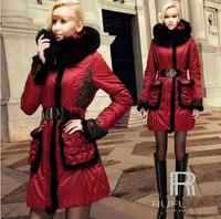 Winter Woman 2015 Down & Parkas Fox Fur Coat Hoody Female Plus Size Clothing Snowimage Black Red 2xl 3xl xxl xxxl W1410141121