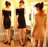 2014 sexy noble elegant slit strapless neckline lace one-piece dress