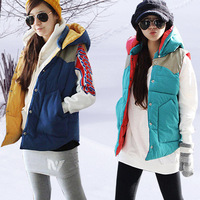 2014 Autumn&Winter Hot Sell Ladies Color Block Warmer Cotton Padded Down Waistcoat Women Vest Size:M-XXXL