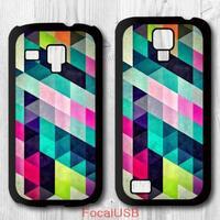 5 pcs Geometric Colorful Triangles Protective Plastic Cover Case For Samsung Galaxy S4 mini S3 mini (White: S4, Black: S3)
