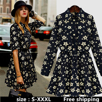 Free shipping European and American big yards ladies new winter lapel Slim round neck long-sleeved floral print dress bottoming