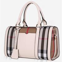 Brand designer PU leather handbag women bag plaid vintage canvas shoulder messenger bag zipper women bolsas