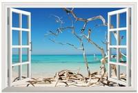 New Beach Seaview Landscape Simulation Fake Window Sticker 120*80cm Sofa Background Art Mural Home Decor Wall Sticker hj-33