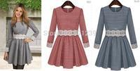 2014 New women Fashion Lace plaid embroidery long sleeve dress
