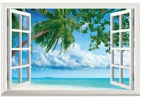 New Coconut Tree Seaview Simulation Fake Window Sticker 120*80cm Sofa Background Art Mural Home Decor Wall Sticker hj-35