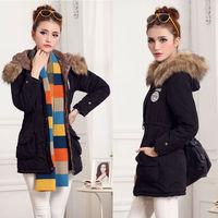 Coat Winter Jacket Women Faux Fur Lining Long Coats Jacket Cotton Plus Size  Poncho Jaqueta Casacos Feminina Outerwear NZH038