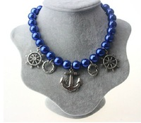 Fashion accessories Big Blue Pearl Chokers Necklace