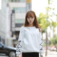 2014 autumn and winter sweatshirt rivet long-sleeve women's five-pointed star sweatshirt thickening fleece sweatshirt