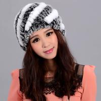 2014 new thick wool hat Rabbit fur ear cap knit warm knit wool hat free shipping