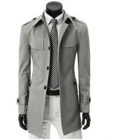 Spring and autumn male trench chromophous plus size casual slim single breasted medium-long knitted collar outerwear