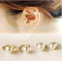 Fashion  Korea pearl ear bones clip earrings invisible U clip earrings non pierced ear clip girls birthday gift  Free shipping
