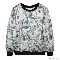 Fashion Spring and Autumn Women's Dollars Money Print Sweatshirts Cute Animals Hoodies Pullover Outwear MDWY7