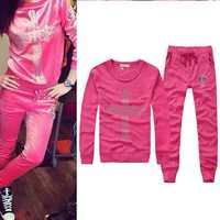 New 2014 women hoody sportwear coss print sport suit rose red 2 pcs clothing set tracksuit