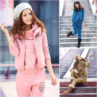 2014 autumn and winter women's thickening fleece sweatshirt set fashion sports casual piece set