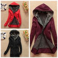 FREE SHIPPING Autumn and Winter 2014 NEW Women Slim Plus Thick Velvet HOODIES Cardigan CASUAL Long Sweater Coat Women Sweatshirt