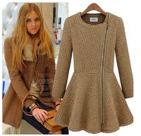 Winter fashion thickening women's woolen oblique zipper o-neck slim wool trench coat outerwear female