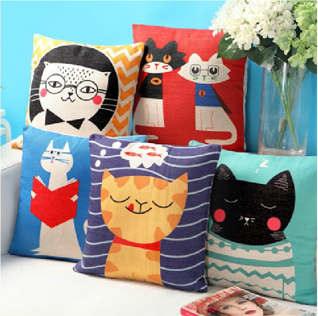 o gato americano pastoral para crianças encantadoras cartoon sofá fronha de algodão travesseiro coxim do carro segurando escritório frete grátis(China (Mainland))