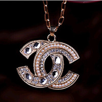 (At least $10) 2014  Top Quality Top Quality Full Peals Pearls and Zirconia Diamonds C Two Moon women necklace free shipping