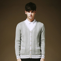 Free shipping Wholesale v neck single-breasted cotton mens cardigan sweater with pocket fashion casual men's clothing