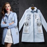 New arrival 2014 winter women's fashion embroidered handmade beading slim wool overcoat medium-long