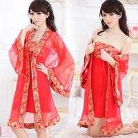 Red embroidered bridel sexy gauze lace robe bathrobes nightgown piece set kimono transparent temptation set