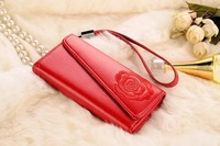Luxury embroidery handbag wallet flip leather case for iPhone 5 5S with card holder