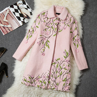 2014 Fashion plus size clothing long-sleeve Outerwear pink Embroidered fashion Woolen Overcoat